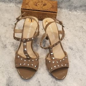 Franco Sarto studded tan leather heels
